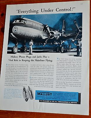 United Airlines Dc-6 Mainliner 300 Airplane For 1947 Mallaroy Phone & Jacks Ad