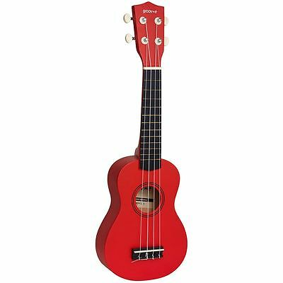 Groov-e Traditional Soprano Ukulele with Carry Case - Red