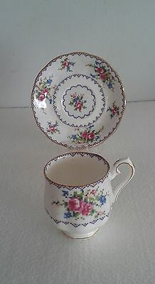 Lovely ROYAL ALBERT PETIT POINT DEMI-TASSE  Cup and Saucer Set.