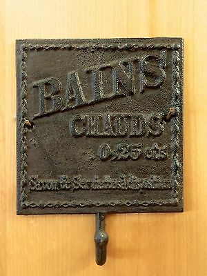 "FRENCH HOT BATH PLAQUE HOOK 7.5"" BROWN CAST IRON ANTIQUE-STYLE rustic wall decor"