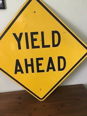 Yield Ahead Metal Sign Yellow Work Construction Street road decor highway