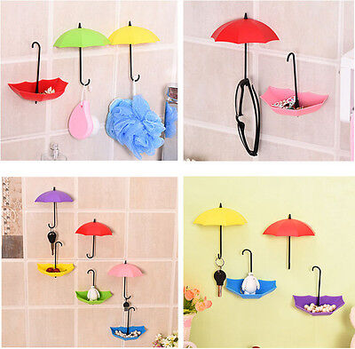 6 PCS Cute Umbrella Wall Hooks Hanger Bathroom Home Decor Max Load-Bearing