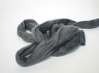 450g Fine Col. Merino Wool 19.5mic top roving spinning felting Dark Grey