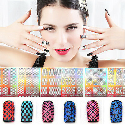 12 Tips/sheet Hollow Nail Art Sticker Stencil Fish Scale Vinyls Stamping Guide