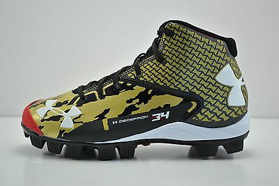 Under Armour Deception Mid RM Jr Baseball Cleats Spikes Size 2Y Black Red Gold