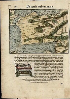Turkey Asia Minor Cyprus c.1552 Munster rare map w/ orig. early hand color