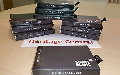 Mont Blanc 105191 Mystery Black Ink Cartridges 1 BOX (8 Pack) Fountain Pen NEW!