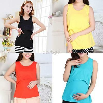 Women Mom Maternity Pregnant Clothes Nursing Tops Breastfeeding Vest T-Shirt Top