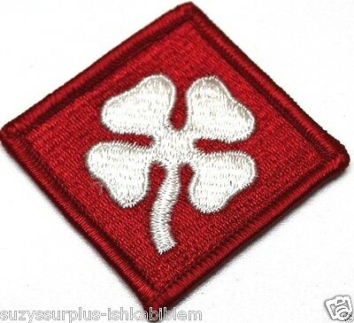 US Army 4TH Army Patch full color Red and White four leaf clover Lot of 2 R1822