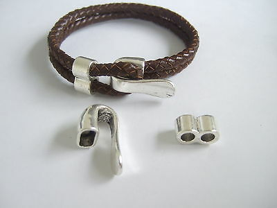3 Sets Antique Silver Bracelet Clasp Findings For 2 Strands of 5mm Round Leather