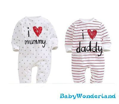 New Baby Boys Girls I Love Mummy Daddy Jumpsuit Romper One Piece Size 0,1,2
