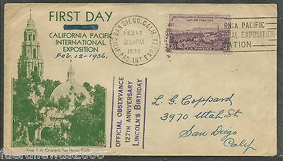 USA 127th Anniversary of Lincoln`s Birthday on FDC First Day Cover Esst von 1935