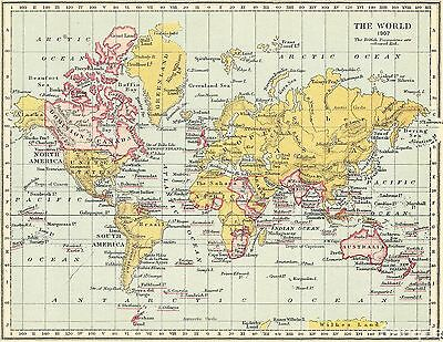 Vintage Style Map of The British Empire 1907 Atlas Art Repro Poster Print A4 A3
