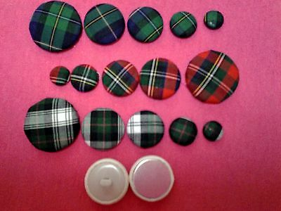"""""""LIBERTY""""Tartan FABRIC COVERED BUTTONS avail.in 12, 15, 20, 25,30mm."""