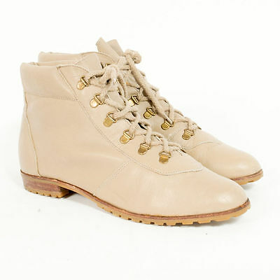 Vintage Leather Boots Lace Up Shoes Ankle 80's Womens Booties Casual Uk 6 Eu 39