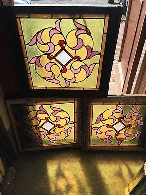 Sg 816 Three Available Priced Each Antique Stainglass Window