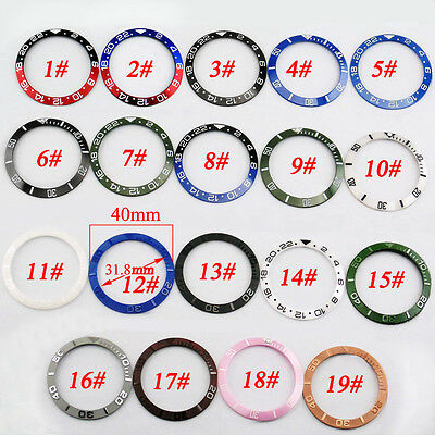 Ceramic/Titanium Red Black Blue Green bezel insert fit automatic 43mm watch p349