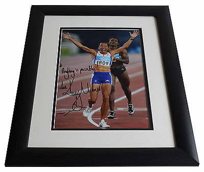 Dame Kelly Holmes SIGNED FRAMED Photo Autograph 16x12 LARGE Olympics display COA