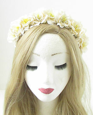 Large Yellow Wildflower Rose Flower Garland Headband Hair Crown Festival 1923
