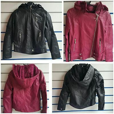 CLEARANCE Girls Faux Leather Jacket With Hood GREAT DEAL!!
