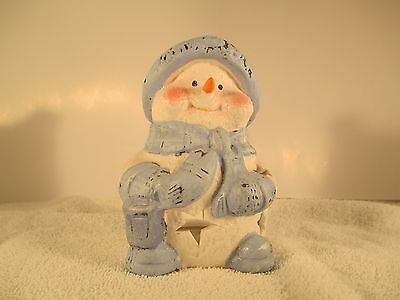 Blue & white snowman  figurine tea light burner