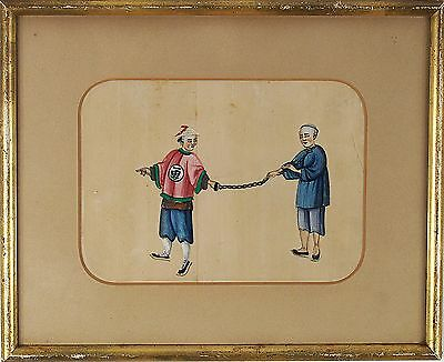Antique Chinese Expert Watercolor Painting Pith Paper 19th Century