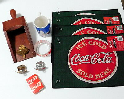 Mixed Lot Coca Cola Items - Bottle Openers Playing Cards Placemats Ashtray Mug