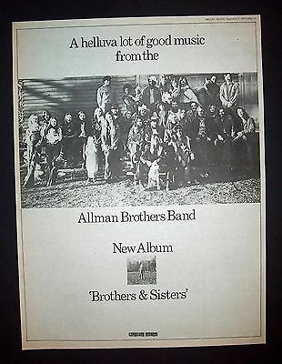 Allman Brothers Brothers & Sisters 1973 Poster Type Ad, Promo Advert