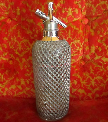 Vintage Sparklets Pewter Mesh Covered Selzter Bottle Made In Czechoslovakia