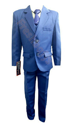 Boys 5 Piece Blue Suit Proms First Communion Wedding Special Occassion