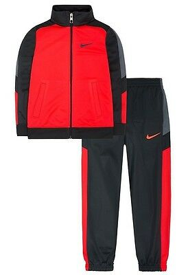 Nike NWT Kid Boy 6 7 Tracksuit Tricot Track Jacket Tomato Red Gray Set $56