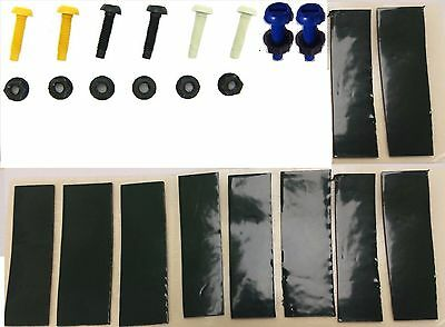 Number Plate Fixing Kit Nut & Bolt Yellow White Black Blue X16 & 20 Sticky Pads