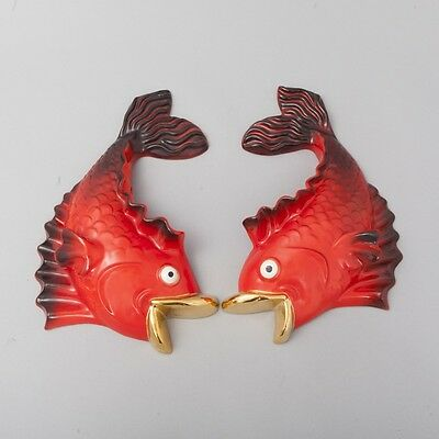 OOAK Pair of 2 Vintage Red Fish Wall Pockets Hanging Ceramic Plaques Gold Lips