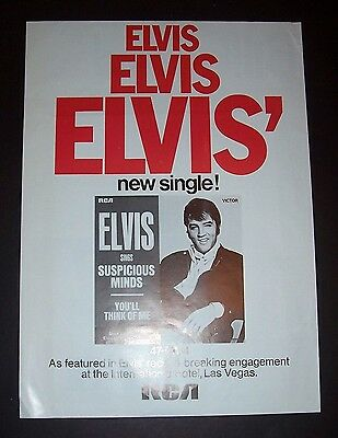 Elvis Presley Suspicious Minds 1969 Short Print Poster Type Ad, Advert