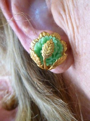 Authentic Vintage-1930's Celluloid Screwback Earrings w/Leaf Motif