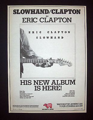Eric Clapton Slowhand 1977 Short Print Poster Type Ad, Advert