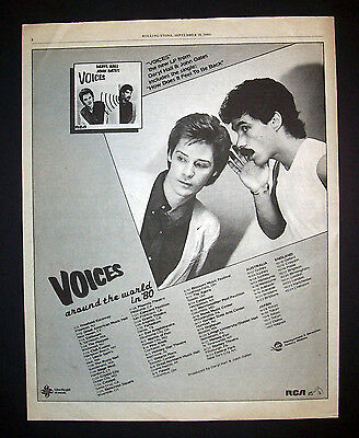 Hall And Oates Voices US Tour 1980 Poster Type Advert, Promo Ad