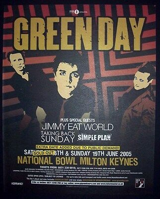 Green Day American Idiot Tour UK Concert 2005 Poster Type Advert, Promo Ad