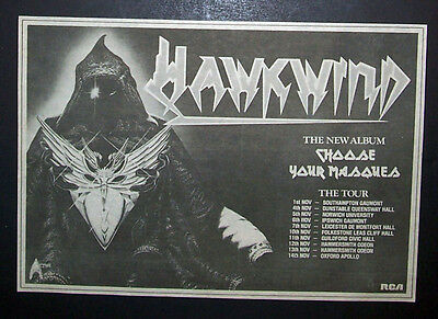 Hawkwind Choose Your Masques 1982 Small Poster Type Ad Advert