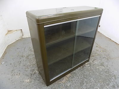 industrial style,metal,vintage,1950's, bookcase,glazed doors,shelves,green,retro