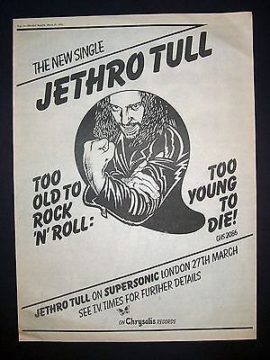 Jethro Tull Too Old To Rock 'N' Roll Too Young To Die 1976 Poster Type Ad Advert