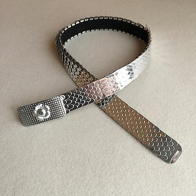 Vintage 70s METALLIC Silver SNAKE Skin EXPANSION Cinch DISCO Belt HONG KONG 26""