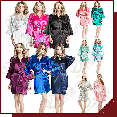 New Bridesmaid plain short Kimono Robe Wedding Women Satin Silk bride robe