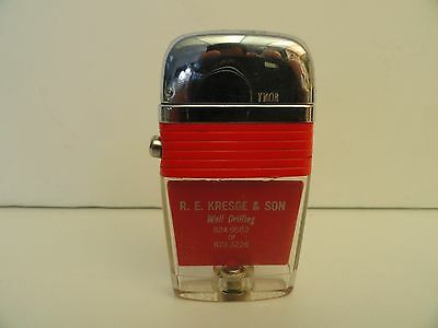 Vintage Scripto VU Lighter R.E. Kresge & Sons Well Drilling. with Red Band