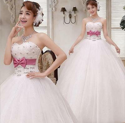 Pink Bow Strapless Slim Princess Bride's Wedding Dresses Wed Frocks Bridal Gowns