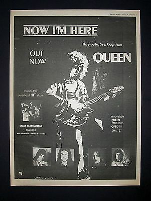 Queen Now I'm Here, Sheer Heart Attack 1975 Poster Type Ad, Promo Advert