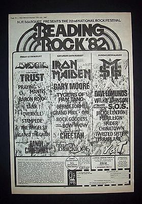 Reading Rock Festival Iron Maiden MSG Budgie  1982 Poster Type Ad Promo Advert 2