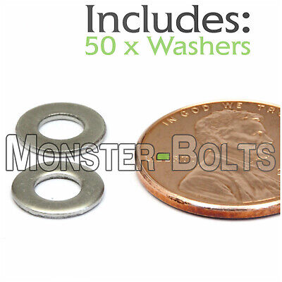 M4 / 4mm - Qty 50 - Metric DIN 125 A Flat Washer Stainless Steel 18-8 / A2