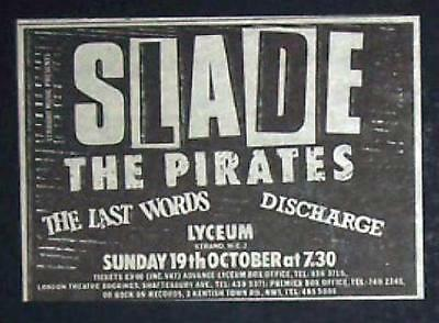 Slade Lyceum, London 1980 Small Concert Advert Promo Ad