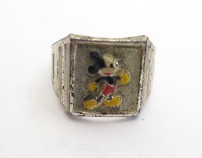NOS Vintage Art Deco Sterling Silver Enamel Walt Disney Mickey Mouse Ring WDP OB